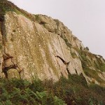 Cliff face: Curious rock formations at Porthguarnon