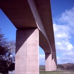 Pillars of the A39 road bridge