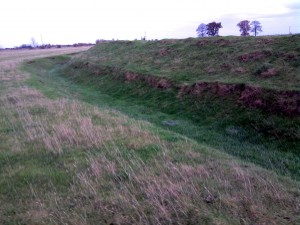 The ditches and banks were reinstated after being ploughed up