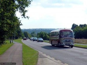 A vintage coach on the Cambridge Road