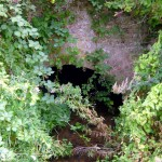 The Brook disappears under the railway embankment