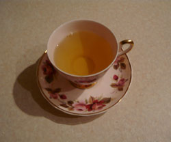 China cup with nettle infusion