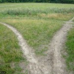 Like vapour trials from a stunt aircraft, the path splits